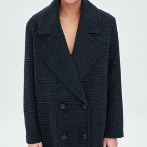 ZARA Grey Plaid Double Breasted Overcoat Size S/M